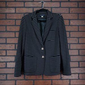 TOMMY HILFIGER Black White Striped Blazer Size M